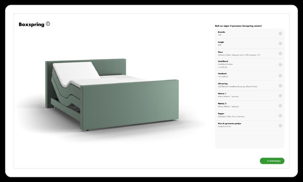 iONE 3D product configurator voor boxsprings en meubelen