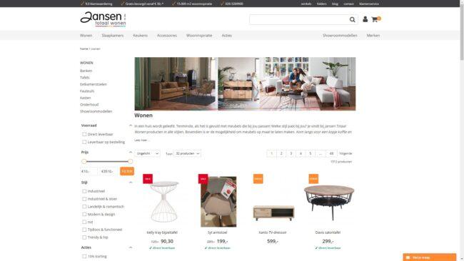 Colijn IT webshop integratie - Jansen Totaal Wonen