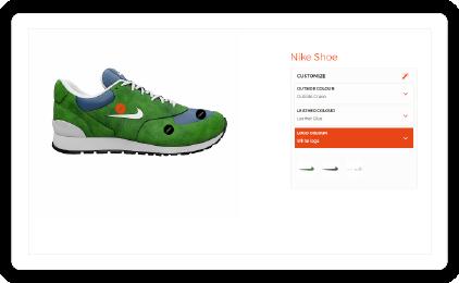 Product configurator met visuele markers bovenop renders
