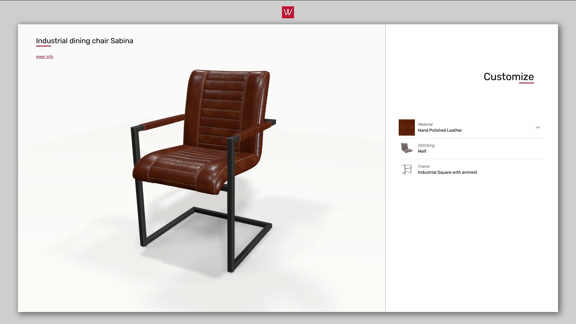 3D product configurator voor eetkamerstoelen