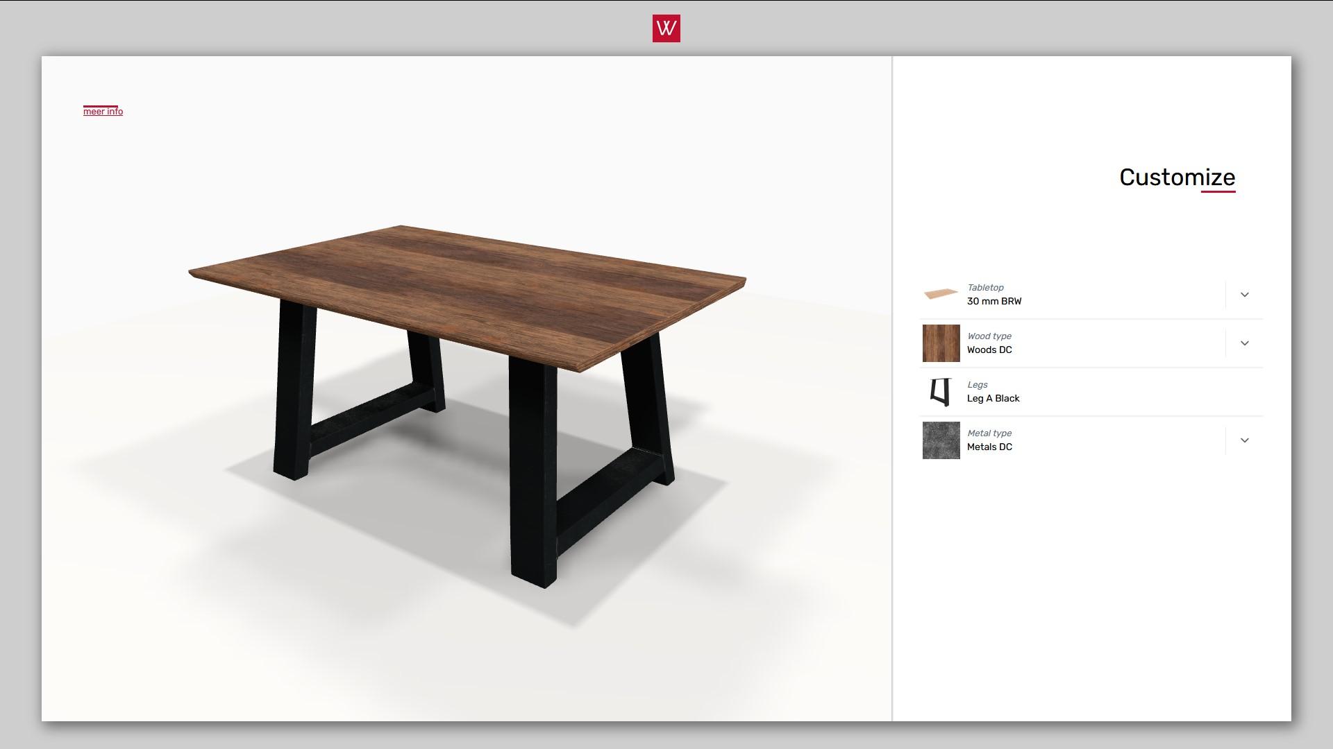 3D product configurator voor tafels