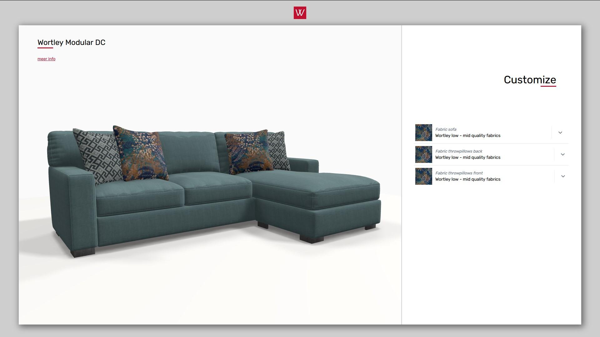 3D product configurator voor hoekbanken