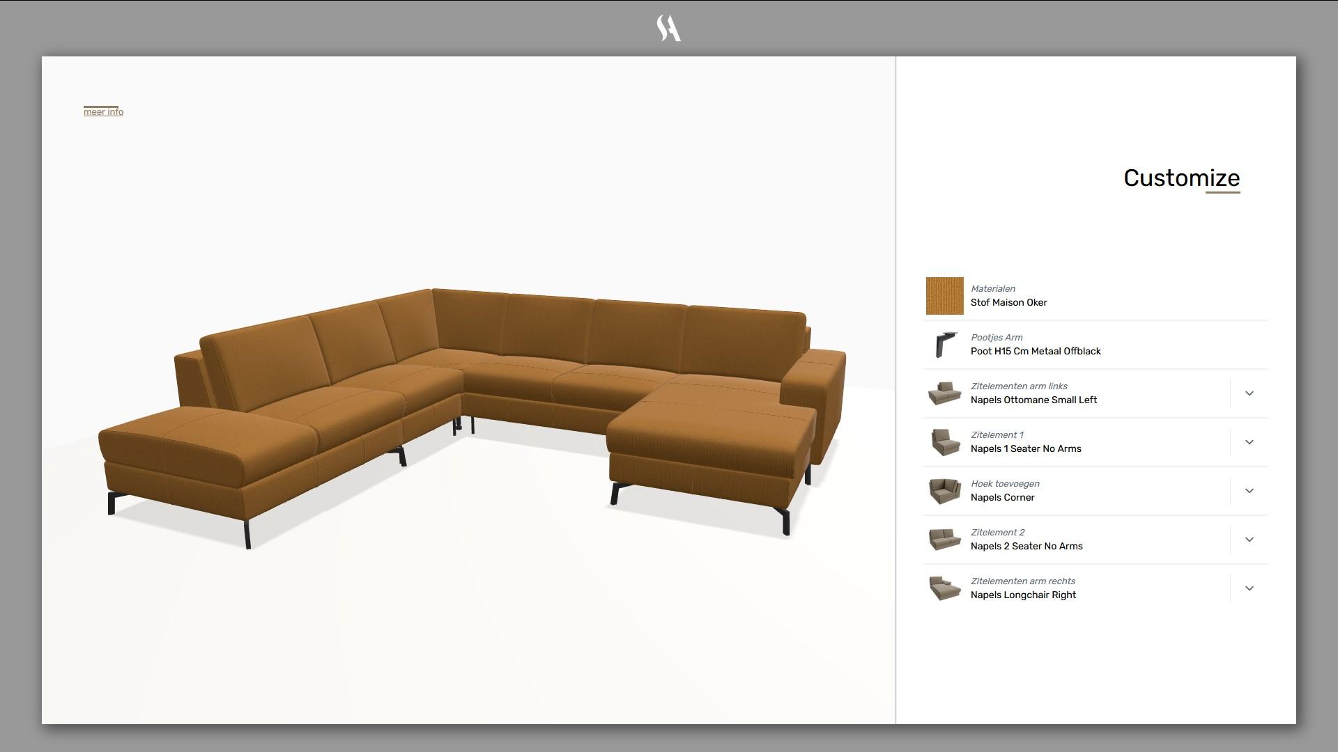 3D configurator voor modulaire hoekbank
